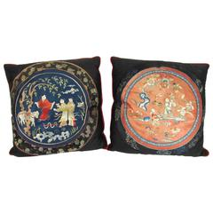 Two 19th Century Chinese Silk Embroidered Textiles Fashioned as Pillows