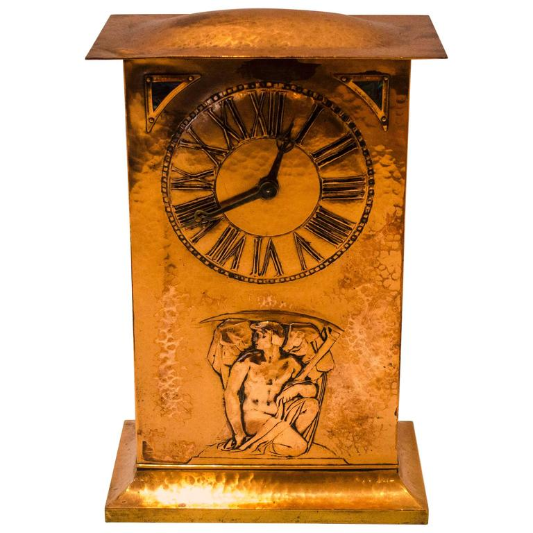 Arts and Crafts Copper Clock by Collins and Co at 1stdibs