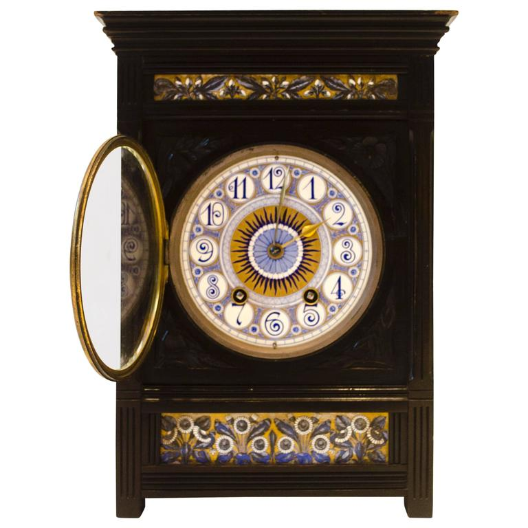 Aesthetic Movement Ebonized Mantel Clock by L Foreman Day
