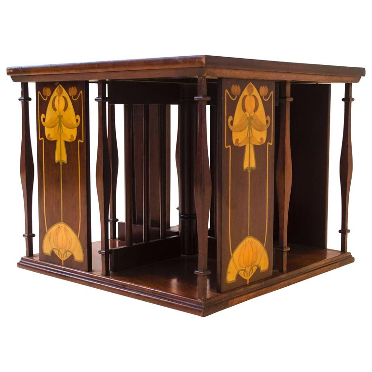 An Arts U0026 Crafts Table Top Revolving Inlaid Bookcase 1