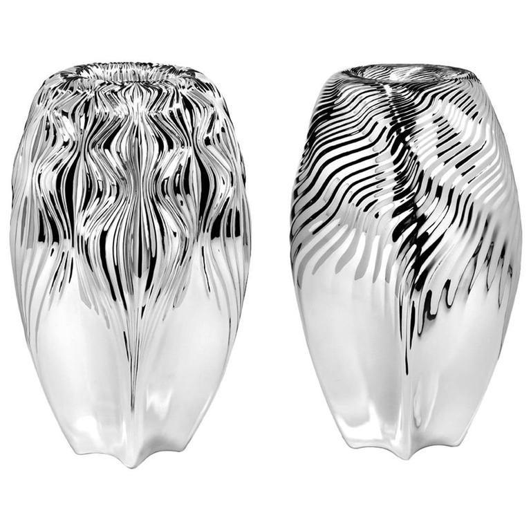 Zaha Hadid Sterling Silver Vase by Wiener Silber Manufactur