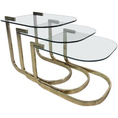 Mid-Century Glass and Brass Nesting Tables by Design Institute America