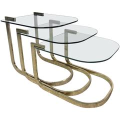 Glass and Brass Nesting Tables by Milo Baughman