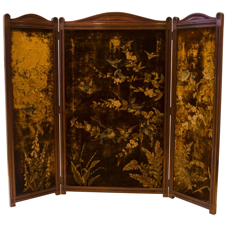 Bruce Talbert An Aesthetic Movement Three-Fold Screen with Birds Amongst Blossom For Sale