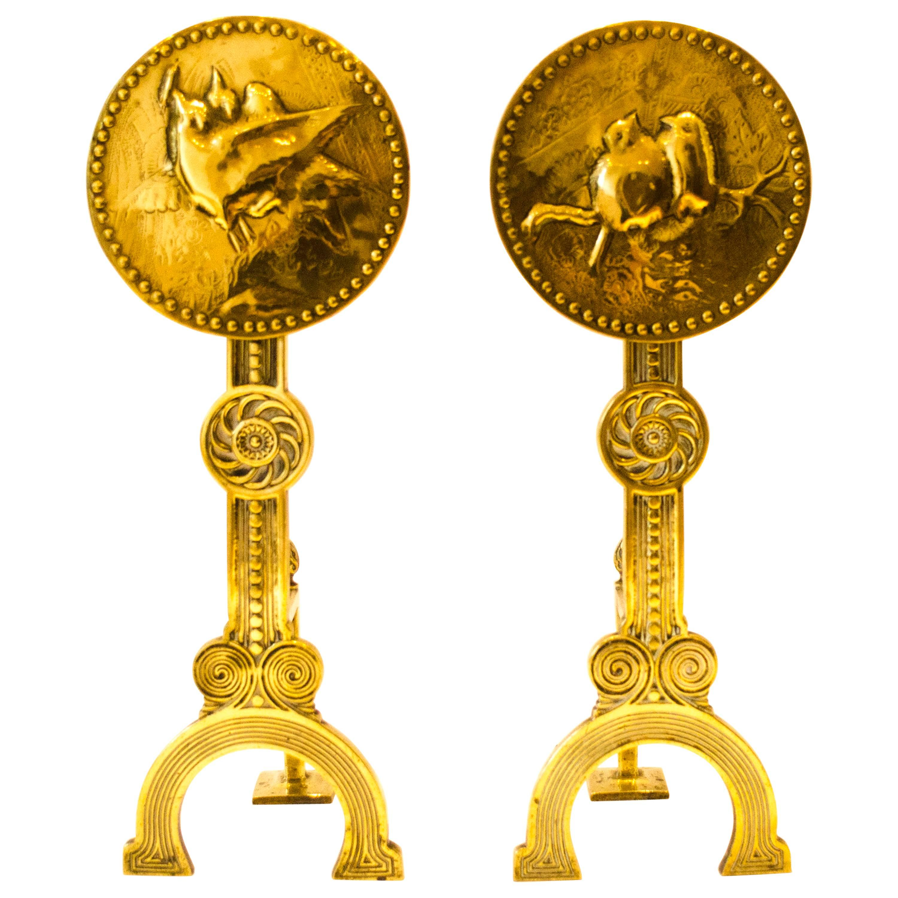 Thomas Jeckyll attri.,A Pair of Anglo-Japanese Brass Fire Dogs with love birds