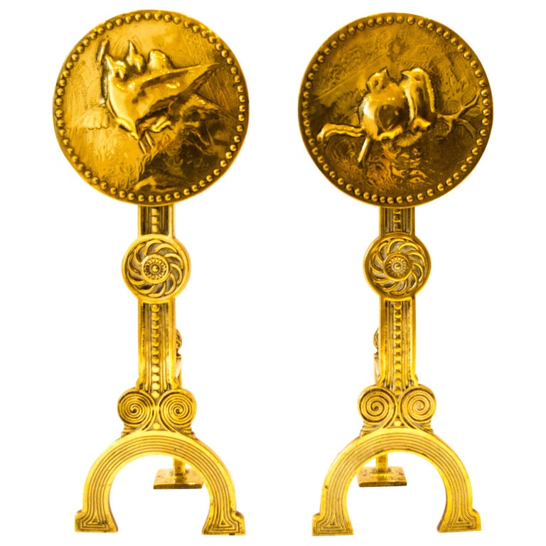 Thomas Jeckyll attri.,A Pair of Anglo-Japanese Brass Fire Dogs with love birds For Sale