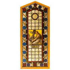 Aesthetic Movement Leaded, Stained and Painted Glass Window Panel