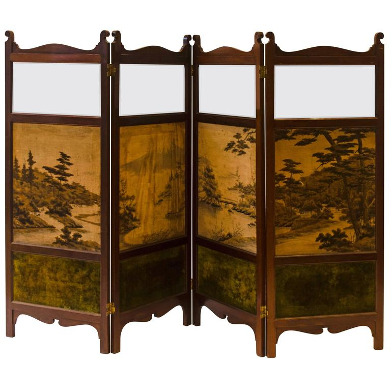 E. W. Godwin, Attri An Anglo-Japanese Four-Fold Screen With Japanese Silk Scenes
