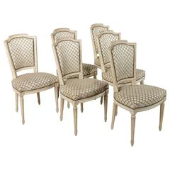 Set of Six French Louis XVI Style Antiqued White Painted Dining or Side Chairs