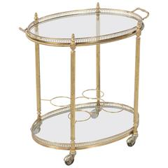 Mid-Century French Polished Brass Oval Bar Cart with Tray and Bottle Holders