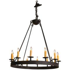 Custom, Hand-Forged American Made Iron Ring Chandelier with Twelve Sockets