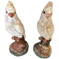 Adorable Pair of Vintage Stone Cockatoos