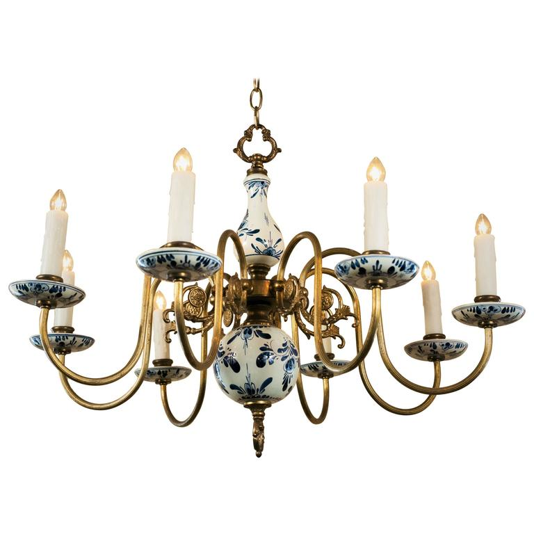 Blue And White Delft Chandelier Circa 1940 At 1stdibs