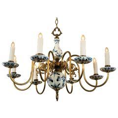 Vintage Brass Delft Chandelier