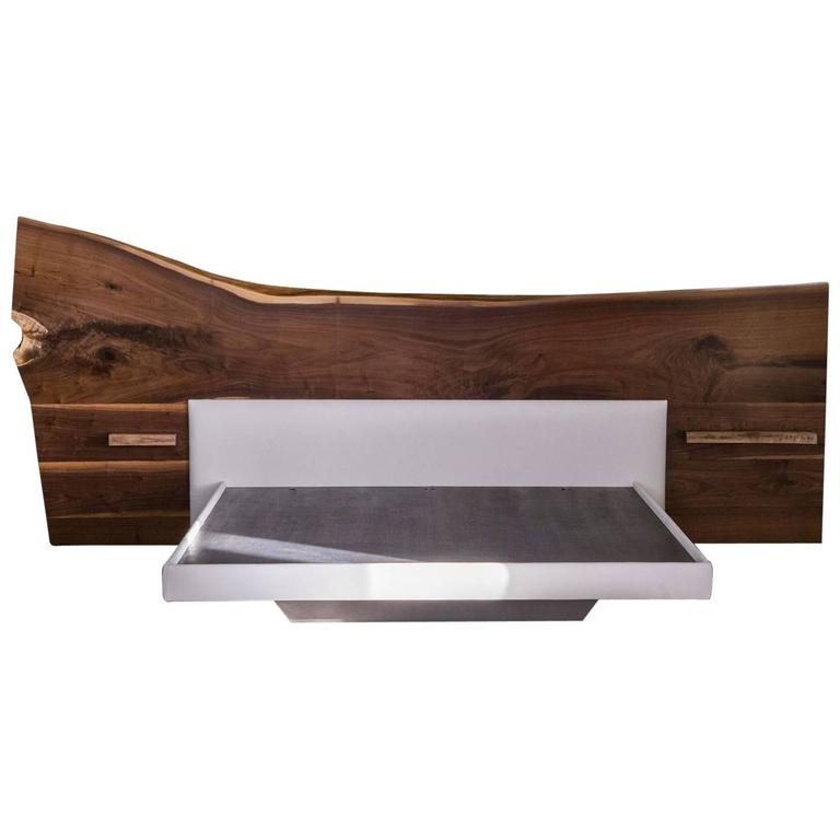 sentient live edge bed black american walnut slab queen On bed slab