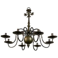 Bronze Flemish Style Chandelier for Candles with Double Headed Eagle, circa 1940