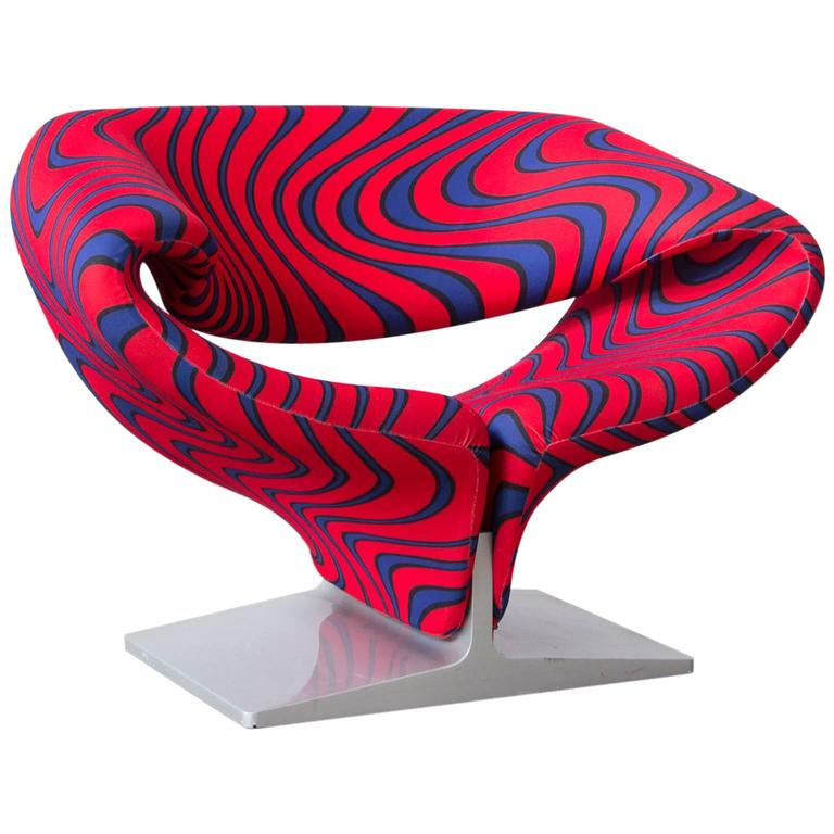 Ribbon Chair In Original Artifort Psychodillic Color Fabric, Pierre Paulin,  1966 For Sale
