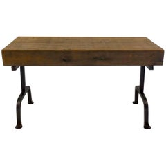 Dos Gallos Custom Reclaimed Wood Rustic Bench with Iron Base