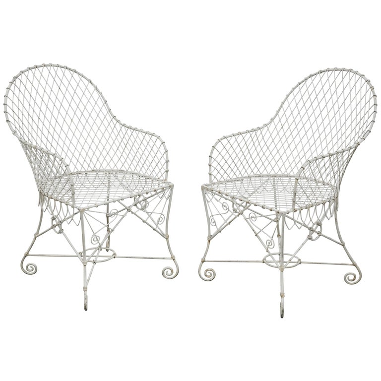 Pair of Wire Chairs For Sale
