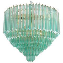 Murano Quadriedri Crystals Chandelier with Aquamarine Stripe by Venini