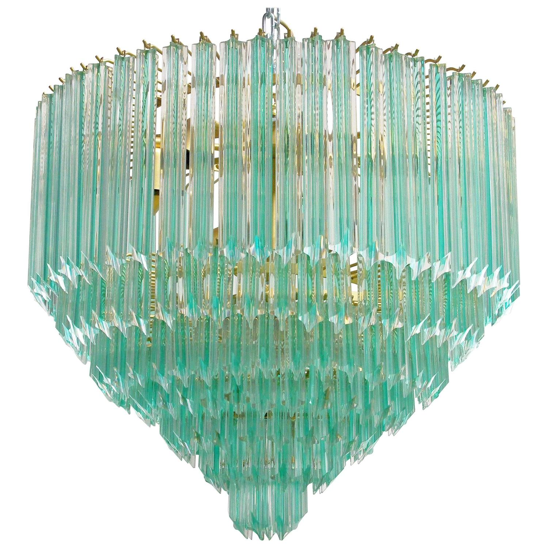 Italian Murano Quadriedri Crystals Chandelier with Aquamarine