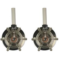 Pair Nautical Ships Wheel Sconces