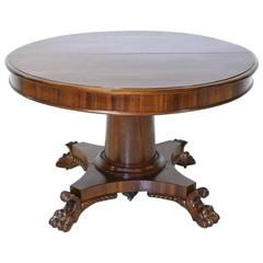 Round Empire Center-Pedestal Dining Table with Four Extension Leaves, circa 1830
