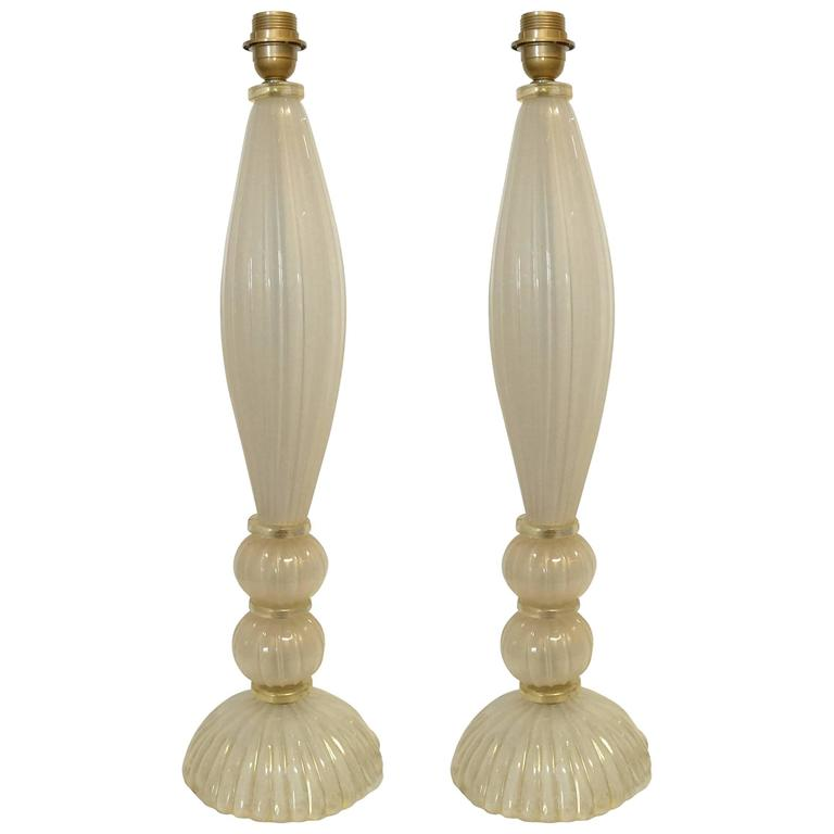 Pair of Italian Murano Gold and Cream Glass Table Lamps 1
