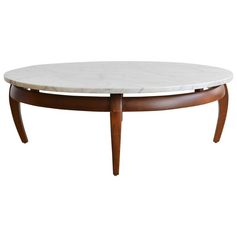 sculpted walnut and carrara marble coffee table circa 1960 at 1stdibs. Black Bedroom Furniture Sets. Home Design Ideas