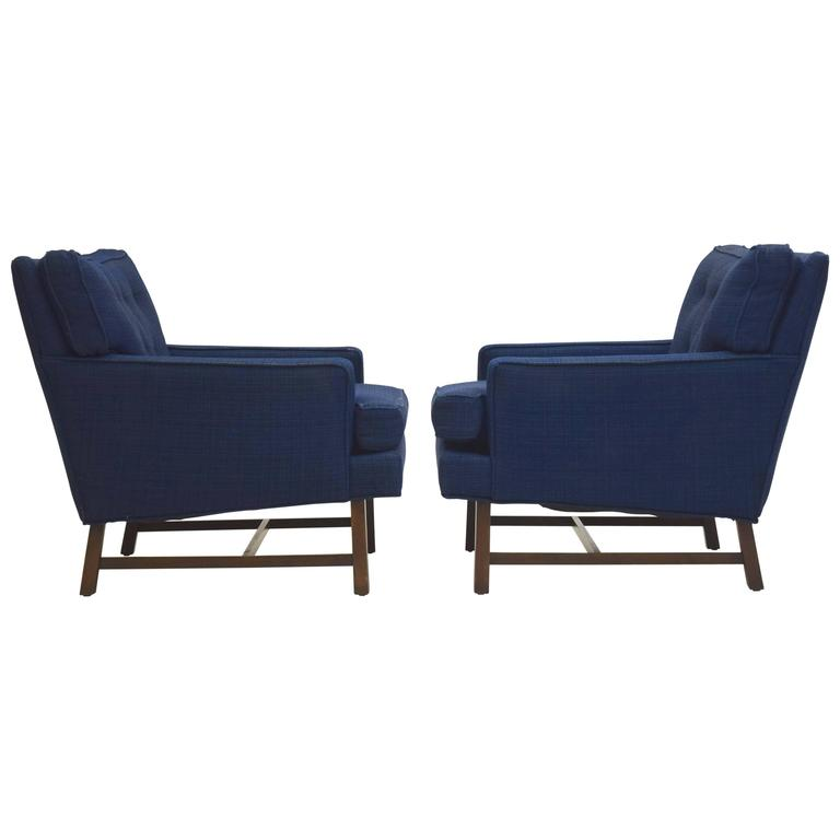 Pair of Lounge Armchairs in Blue Tweed with Walnut Frames Directional