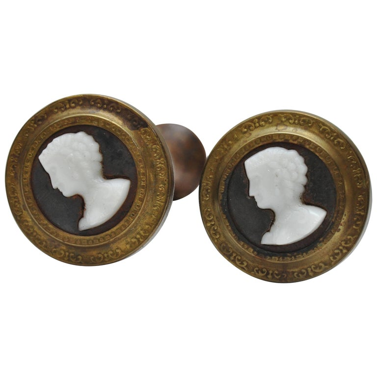 Pair of Cameo Style Drapery Tieback For Sale