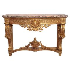 19th Century Finely Carved Louis XVI Marble-Top Console