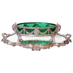 19th Century French Silver over Bronze Mirrored Plateau and Green Glass Bowl