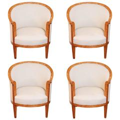 Set of Four 19th Century Biedermeier Karelain Birch Barrel Chairs