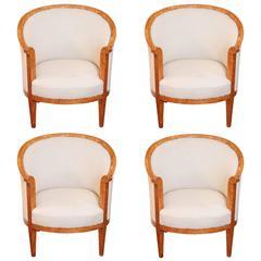 Set of Four 19th Century Biedermeier Karelain Birch Barrel Chairs