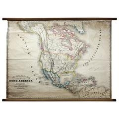 Antique Mid-19th Century Wall Map of North America by Lienhart Holle, 1870
