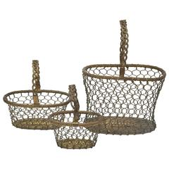 Set of Three French Wire Baskets