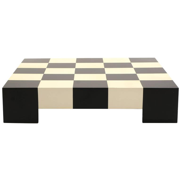 Large Square Black And White Checkerboard Coffee Table By Milo Baughman At 1stdibs