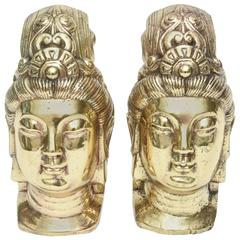 Pair of Polished Brass Vintage Buddhas/ Bookends