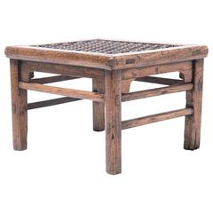 Low Stool with Woven Hide Top