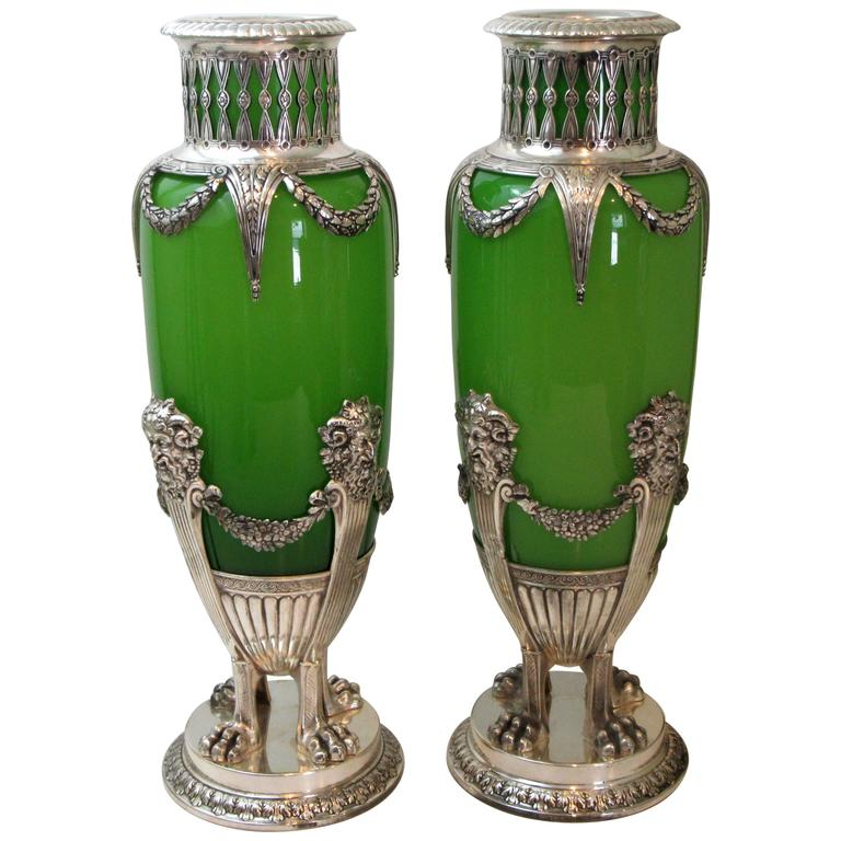Pair of French Opaline Glass and Silver Mounted Vases For Sale