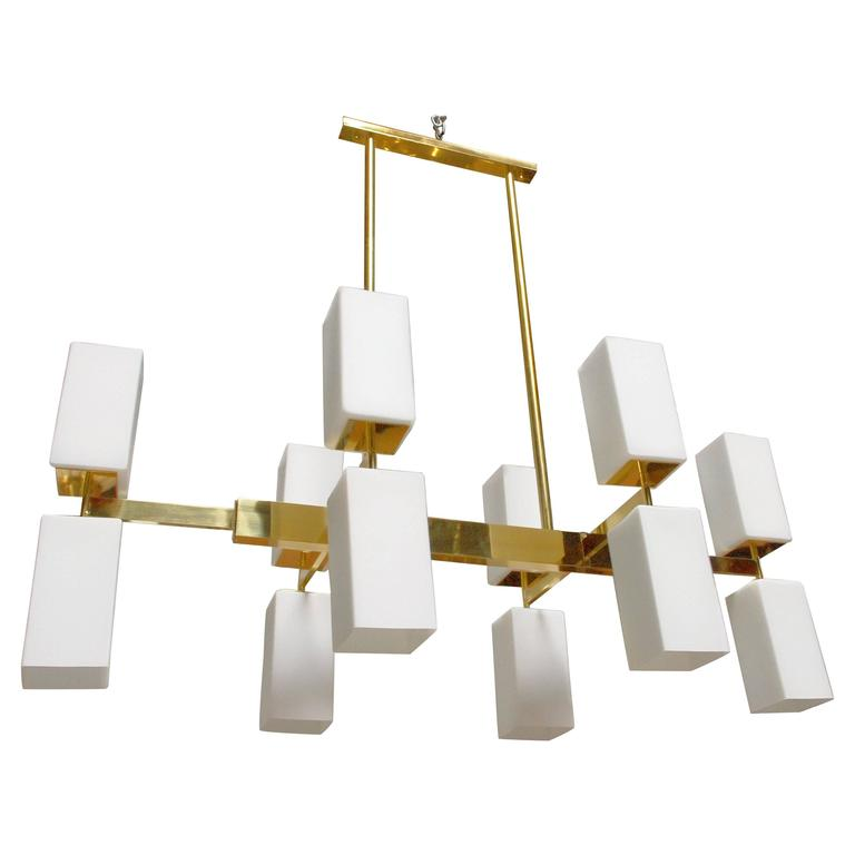 Italian Murano Frosted Glass and Brass Chandelier by Fabio Bergomi For Sale