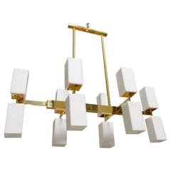 Italian Murano Frosted Glass and Brass Chandelier