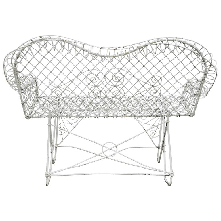 Antique White Painted Wire Garden Loveseat. Measures: Seat Height 18