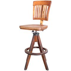 Vintage Industrial Wood and Cast Iron Adjustable Drafting Stool Made by Cook