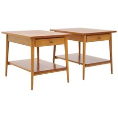 Paul McCobb Planner Group Nightstands or Side Tables with Drawer and Lower Shelf