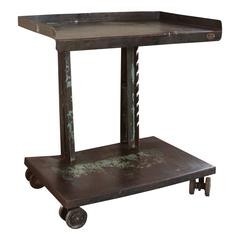 Vintage Industrial Steel Rolling or Serving Cart on Swivel Double Castors/Wheel