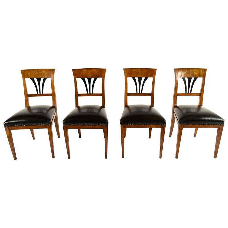 Set of Four Dining Chairs 19th Century Biedermeier Style