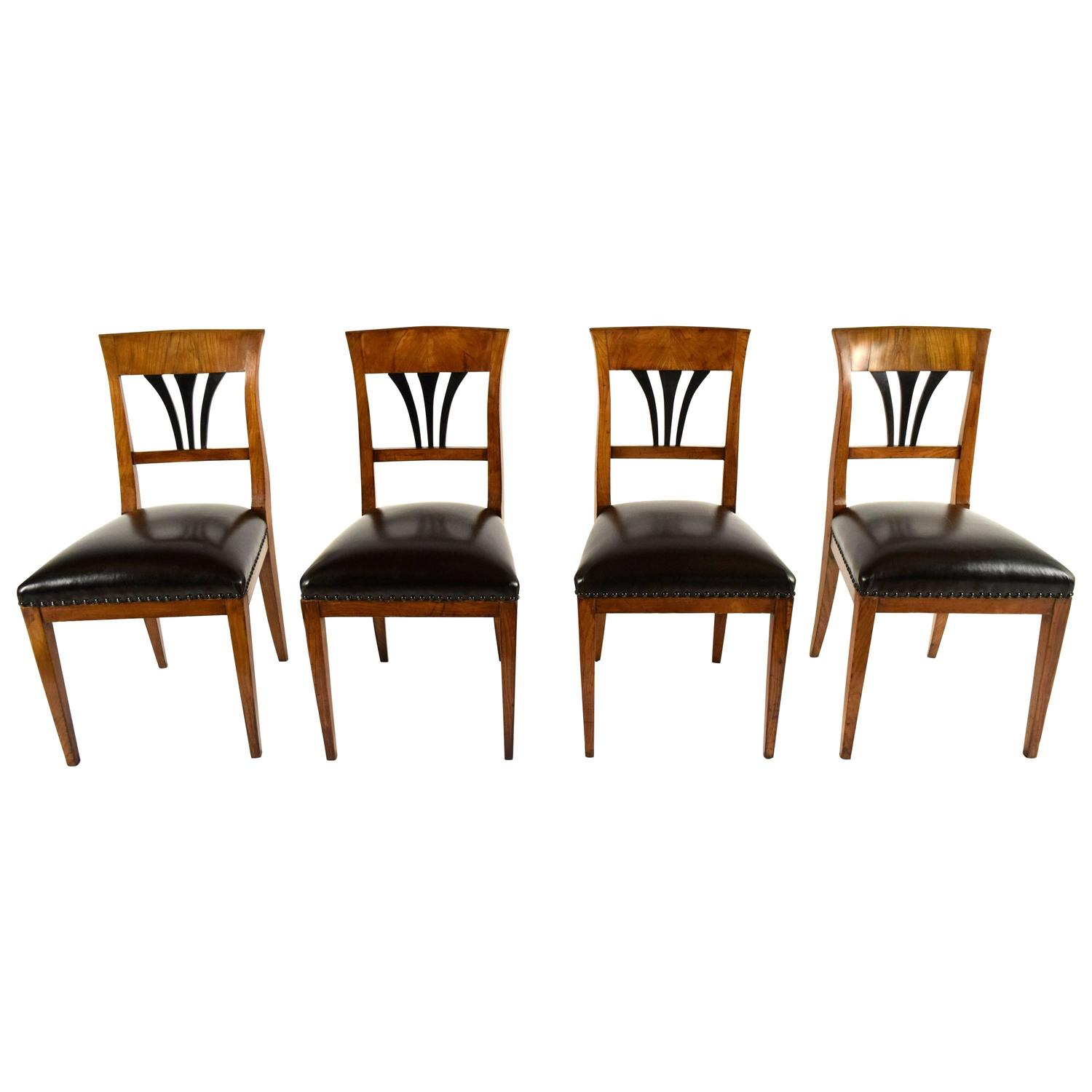 Set Of Four Dining Chairs 19th Century Biedermeier Style For Sale At 1stdibs