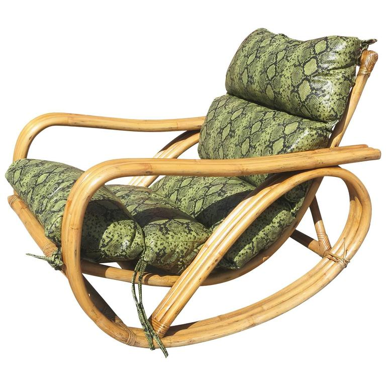 Rare Restored Pretzel Arm Rattan Rocking Chair With Faux Snakeskin Cushions  For Sale